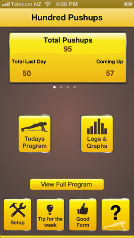 A pitcture of the 100 pushup app one of the best fitness apps on the iphone