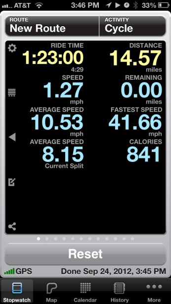 A screenshot of the Cyclemeter app one of the best fitness apps on the iphone