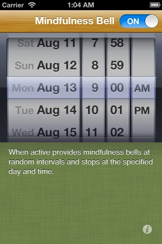 A screenshot of the Lotus Bud mindfulness bell app one of the best mindfulness apps on the iphone